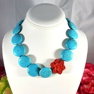 Turquoise and red flower bead statement necklace